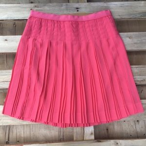 J Crew Coral Pink Stitched Down Pleated Mini Skirt